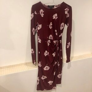 Burgundy Floral Knotted Long Sleeve Mini Dress